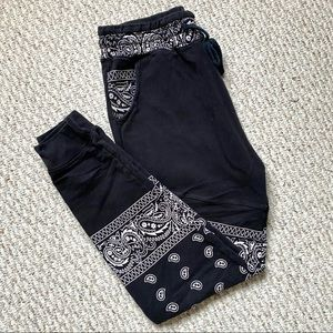 Patterned Black and White Joggers (Drop crotch)